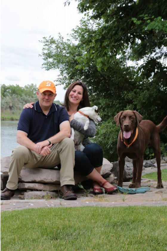 The Devers, their chocolate lab, and especially their Jack Russell Terrier, ready to hit the Rivers Edge Trail.