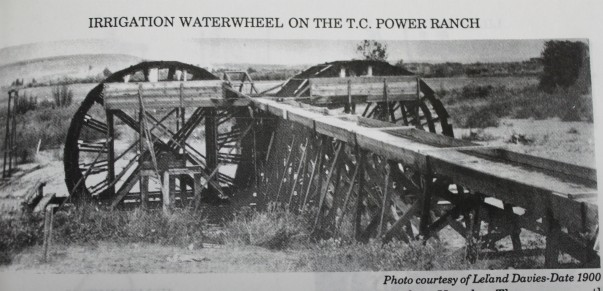These waterwheels on the Sun River were offset and a flume channeled water to ditches.  Photo taken from a history of the Sun River area and found at the Great Falls Genealogy Society, Montana Room of the Great Falls Public Library.